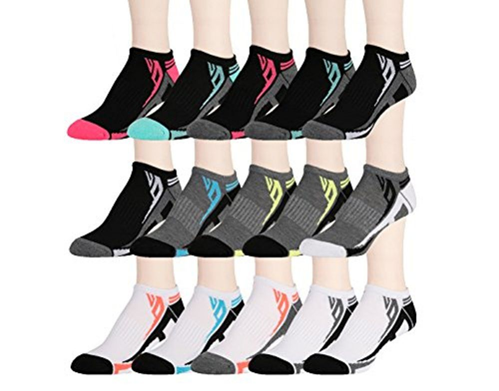 15 Pairs of WSD Womens High Performance Ankle Socks Low Cut Cushioned (Pack A) - Womens Ankle Sock