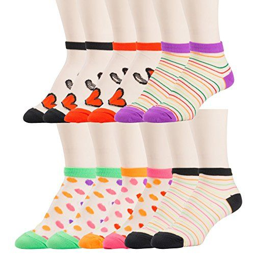12 Pairs of excell Womens Mesh Fashion Ankle Socks, size 9-11 (Assorted Prints B) - Womens Ankle Sock