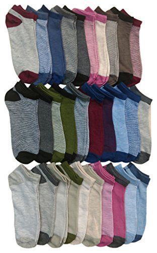 30 Pairs of WSD Womens Ankle Socks, Low Cut Sports Sock - Assorted Styles (Thin Stripes) - Womens Ankle Sock