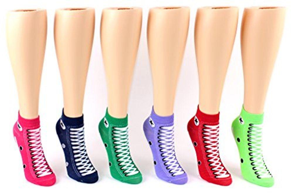 24 Pairs Pack of WSD Women's Low Cut Novelty Socks, Value Pack, Athletic Socks (Sneaker Print, 9-11) - Womens Ankle Sock