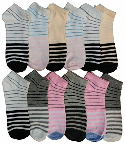 12 Pairs of WSD Womens Ankle Socks, Cotton No Show, Many Colorful Patterns (Pack R) - Womens Ankle Sock