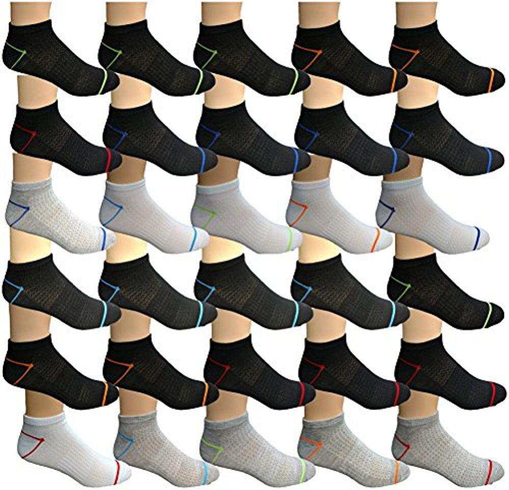 WSD Mens Ankle Socks, No Show Athletic Sports Socks (30 Pairs Colorful Sports Neon) - Mens Ankle Sock
