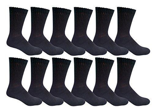 12 Pair of Excell Mens Athletic Sports Quality Crew Socks Ringspun Cotton (Black) - Mens Crew Socks