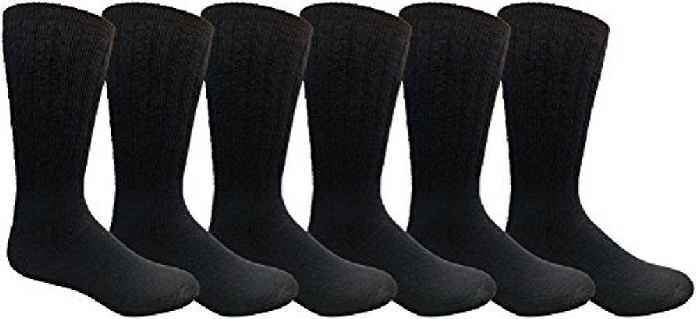 6 Pairs Merino Wool Socks for Men, Hunting Hiking Backpacking Thermal Sock by WSD (Navy)