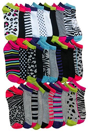 30 Pairs of WSD Womens Ankle Socks, Low Cut Sports Sock - Assorted Styles (Animal Print) - Womens Ankle Sock