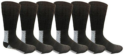 6 Pairs Merino Wool Socks for Men, Hunting Hiking Backpacking Thermal Sock by WSD (Black w/ Gray Sole) - Mens Thermal Sock