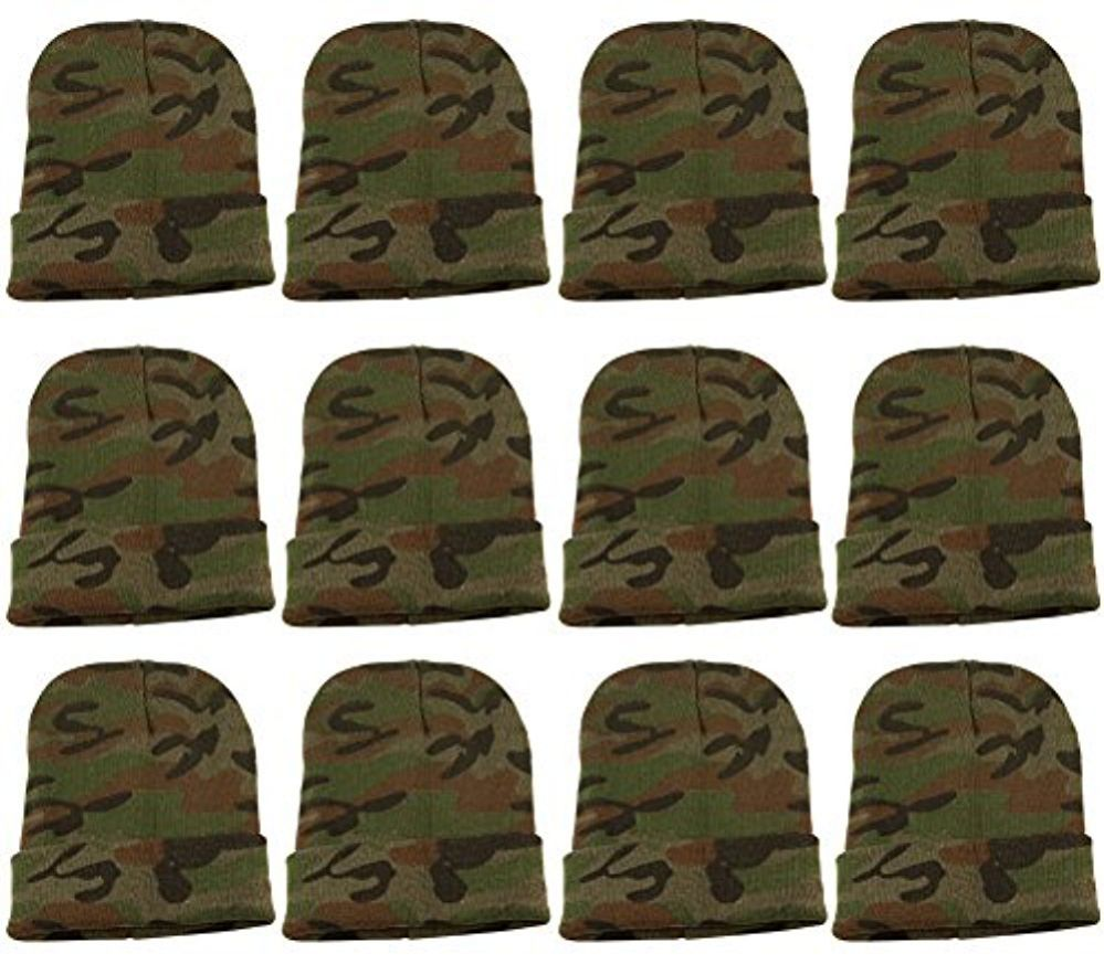 12 Units Of excell Mens Womens Warm Winter Hats In Assorted Colors, Mens Womens  (Green Camo) - Winter Beanie Hats