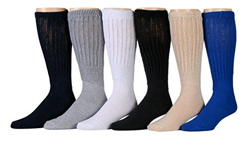 6 Pairs of excell Men's Super Slouch Socks, Sock Size 10-13 - Mens Crew Socks