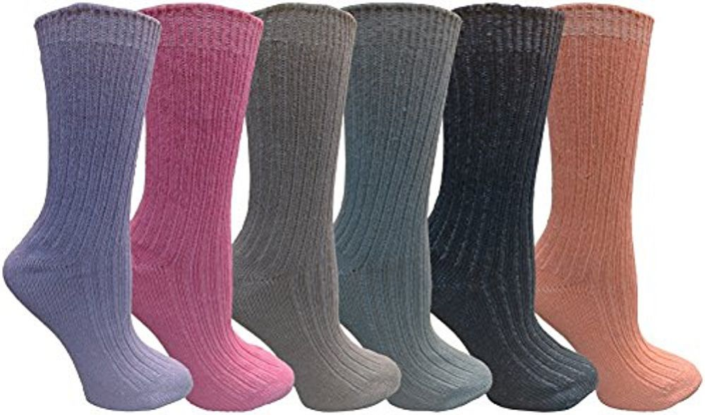 6 Pairs of Womens Crew Socks, Assorted Colored Chic Sports Athletic Sock, by WSD - Mens Crew Socks