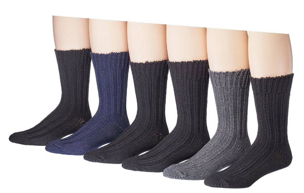 6 Pairs Of excell Mens Premium Winter Wool Socks With Cable Knit Design (1503) - Mens Thermal Sock