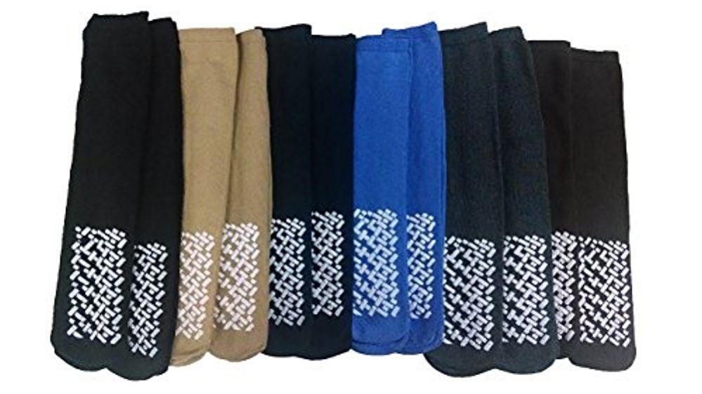 12 Pairs of excell Mens Diabetic Slipper Socks, Size 10-13 Hospital socks, Non Skid