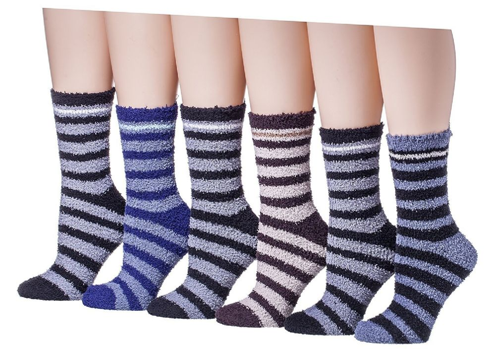 6 Pair Of excell Mens Striped Winter Warm Fuzzy Socks, Sock Size 10-13 - Mens Crew Socks