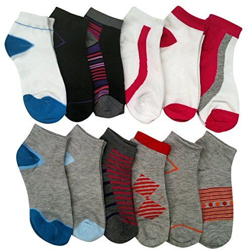 12 Pairs of WSD Womens Ankle Socks, No Show Athletic Sports Socks, Assorted (Assorted Multicolor) - Womens Ankle Sock