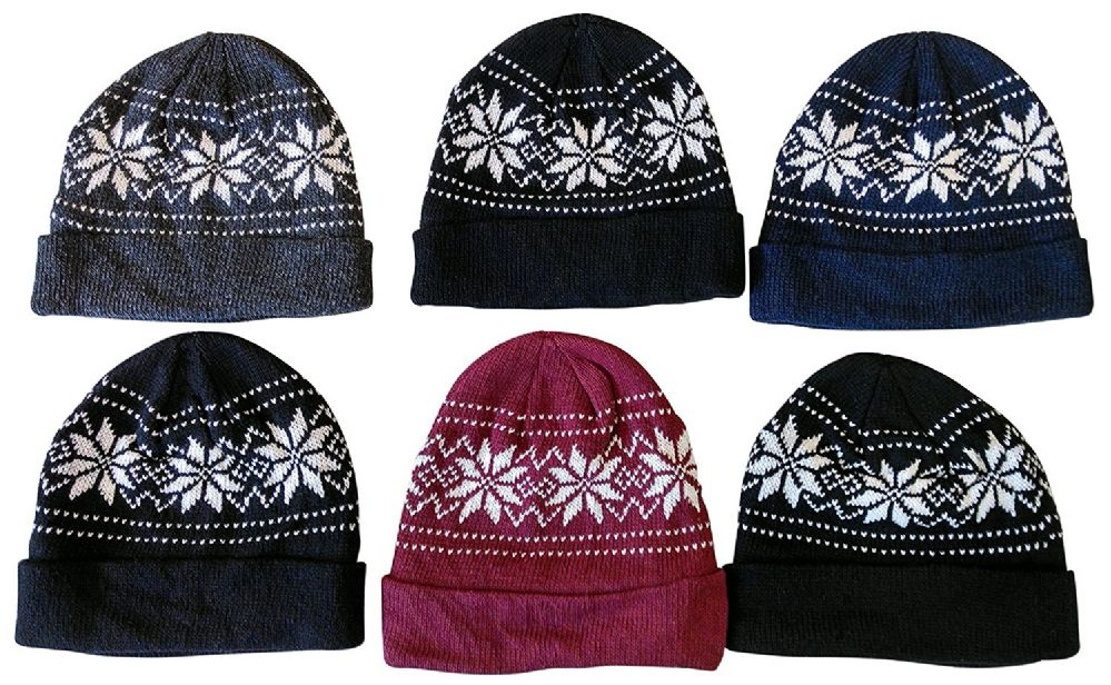 6 Pieces Of excell Mens Heavy Fleece Lined Winter Hat - Winter Beanie Hats