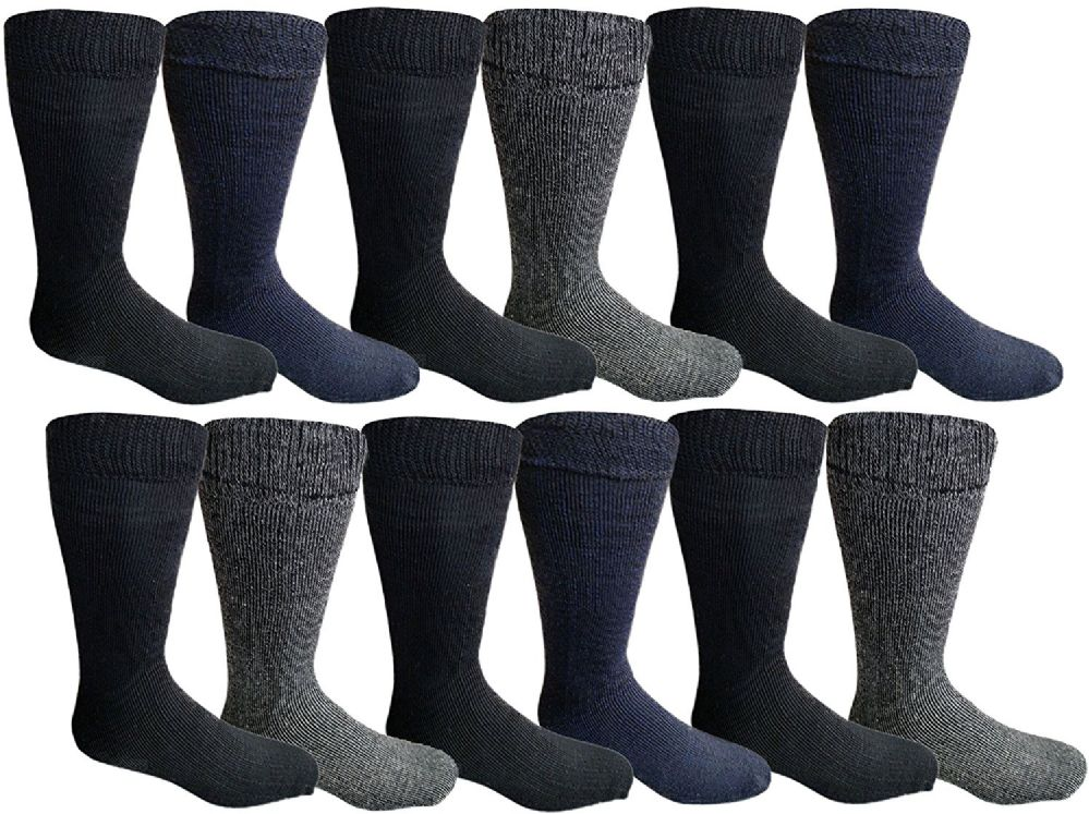 12 Pair Pack Of excell Mens Heat Retainer Winter Thermal Socks, Brushed Inside - Mens Thermal Sock