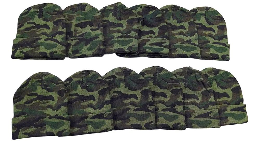 12 Pack of Mens Womens excell Winter Beanie Hats, Toboggan Thermal Sport (One Size, Camoflauge) - Winter Beanie Hats