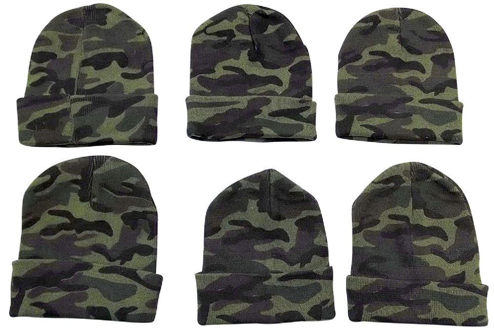 6 Piece excell Camoflauge Military Camo Winter Toboggan Hunter Hat - Winter Beanie Hats