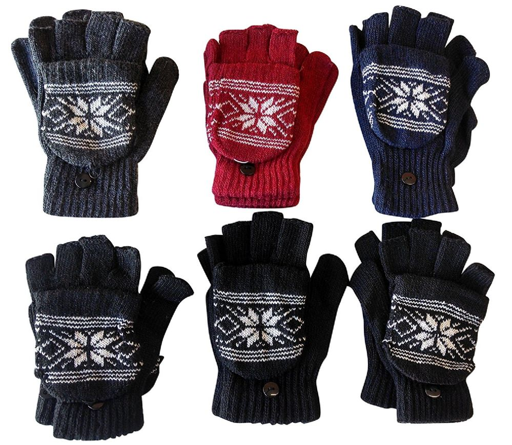 6 Pairs Of excell Mens Womens Snow Flake Fingerless Cuff Gloves / Mitten - Magic Acrylic Gloves