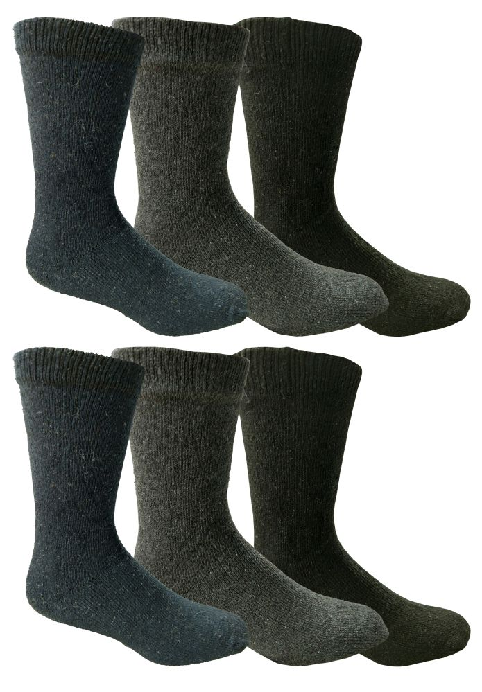 6 Pairs Of excell Mens Thick Thermal Boot Socks, Temperature Rated, Cotton - Mens Thermal Sock