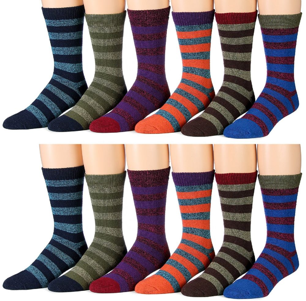 12 Pair Pack Of excell Mens Winter Thermal Socks (Colorful Stripes) - Mens Thermal Sock