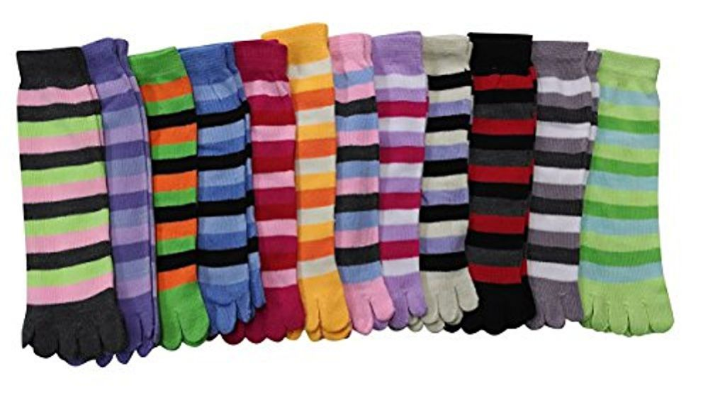12 Pairs Of excell Women's Striped Neon Toe Socks, Size 9 - 11 #2003