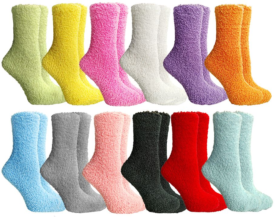 excell Womens Fuzzy Socks Crew Socks, Warm Butter Soft, 12 Pair Pack, Solid Fuzzy C, 9-11 - Womens Fuzzy Socks