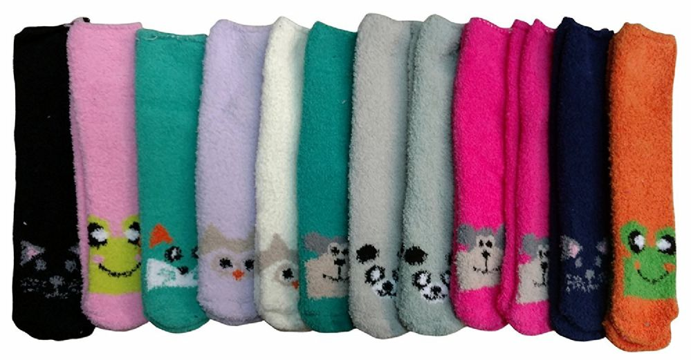 excell Womens Fuzzy Socks Crew Socks, Warm Butter Soft, 12 Pair Pack, Animal A, 9-11 - Womens Fuzzy Socks
