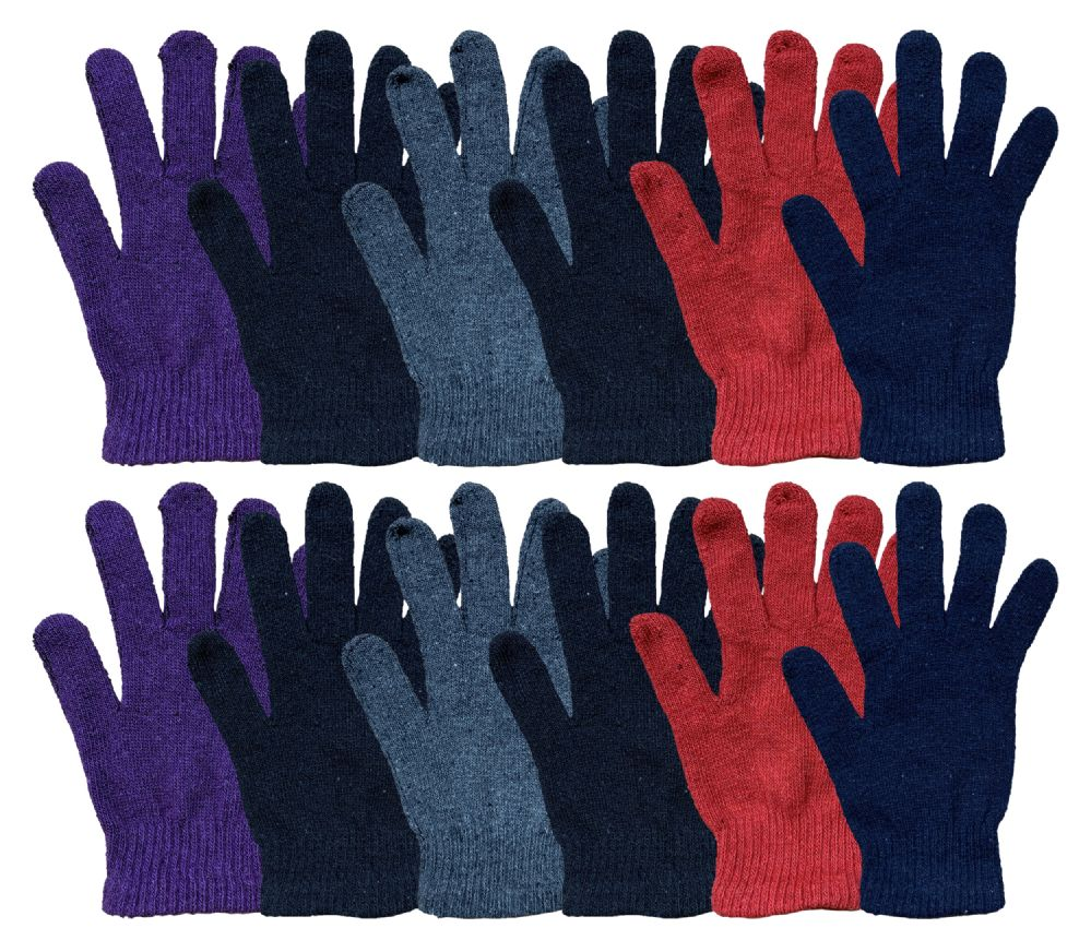 excell Mens and Womens Warm And Stretchy Winter Gloves (Womens 12 Pairs Solids) - Magic Acrylic Gloves