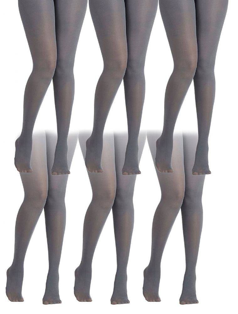 753cdd99025c4 6 Pack of Mod & Tone Maternity Microfiber Opaque Tights, Wide Waist Band  (L/XL, Gray with Black Top) - Womens Tights