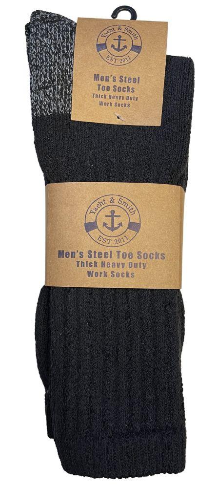 12 Pairs of Men's Heavy Duty Steel Toe Work Socks, Black, Sock Size 10-13 - Winter Gloves