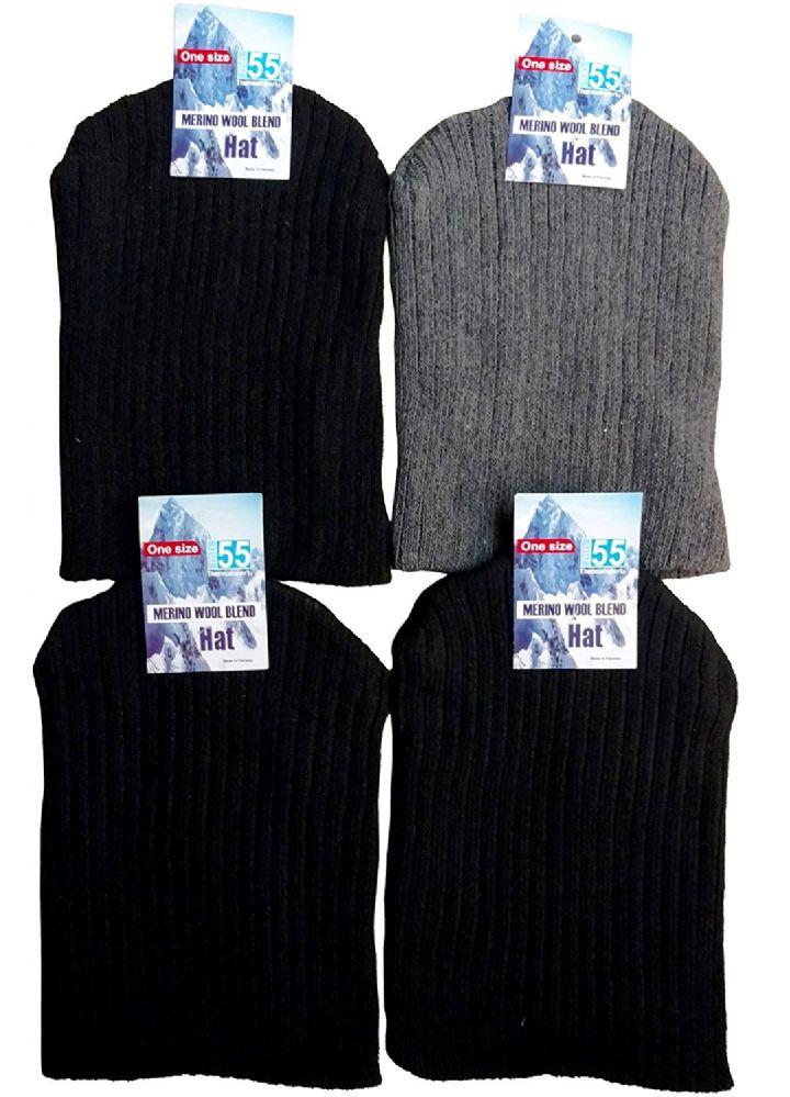 4 Pack of MB55 Heavy Knit Hat Warm Winter Beanie Cap, Cotton - Winter Beanie Hats