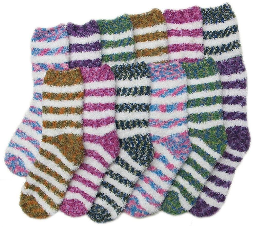excell Womens Fuzzy Socks Crew Socks, Warm Butter Soft, 12 Pair Pack, Tiger Stripes, 9-11