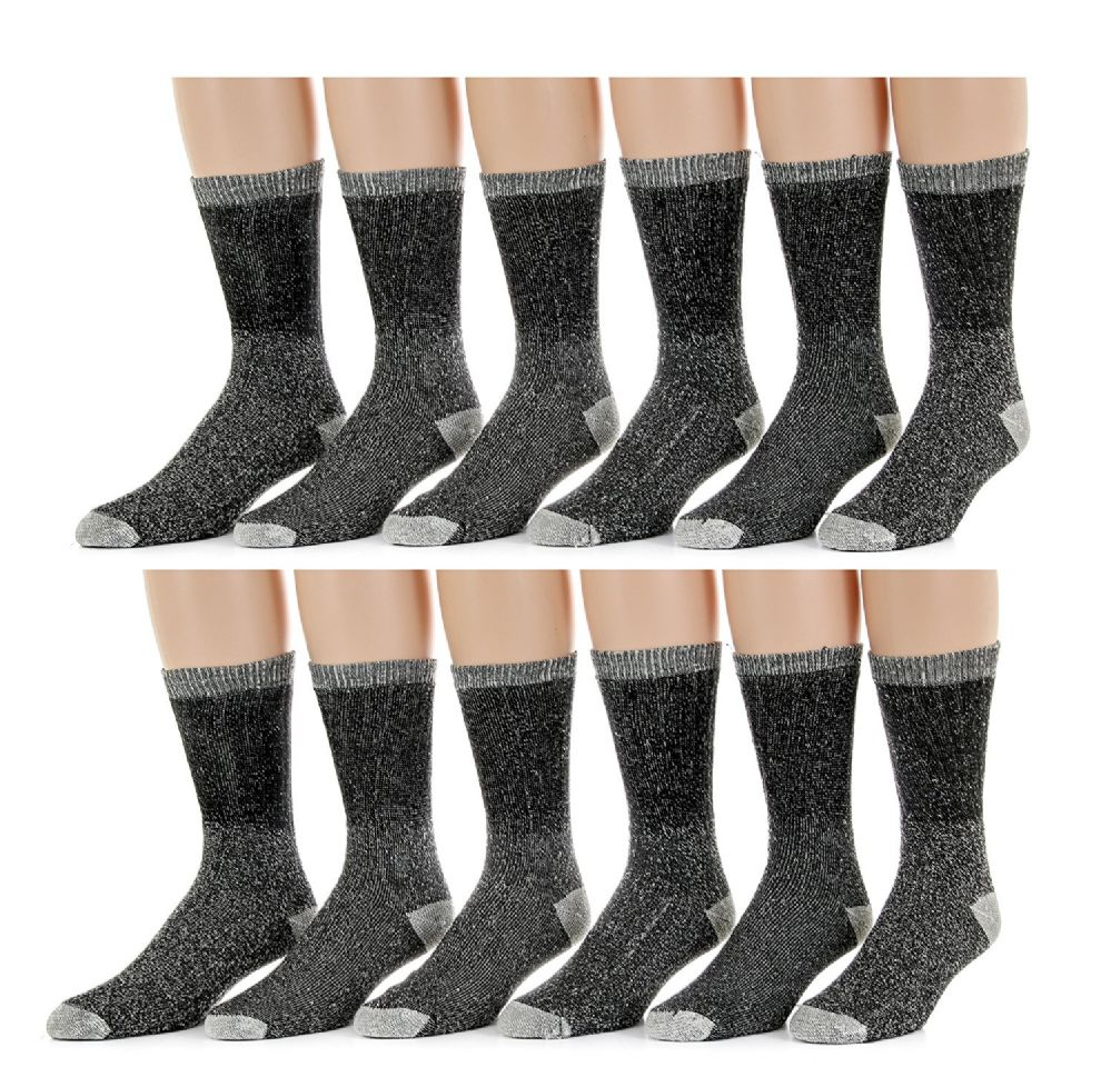 Merino Wool Blend Mens Thermal Hikking Socks by Excell (12 Pack Gray) - Mens Thermal Sock