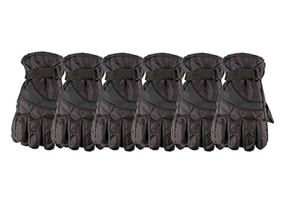 6 Pack of excell Mens Winter Warm Waterproof Ski Gloves, One Size Fits All (Black) - Winter Gloves