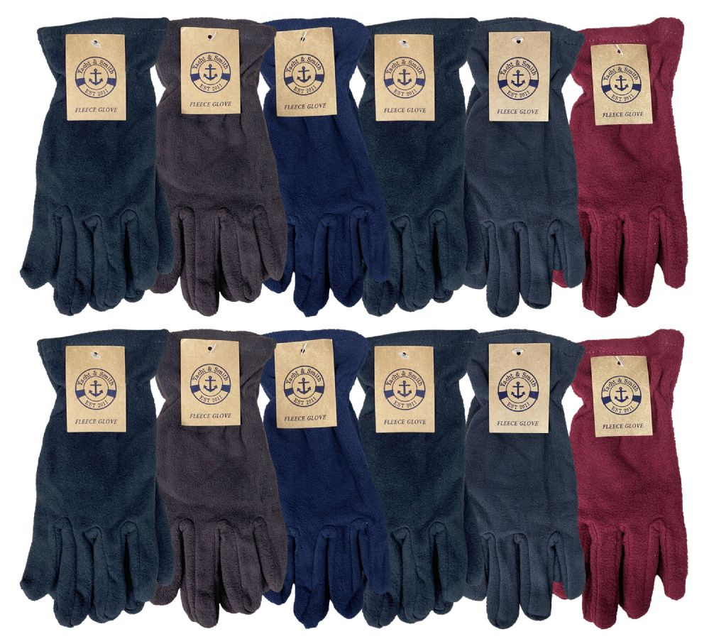 12 Pairs of excell Mens Winter Fleece Gloves, Thermalsport - Fleece Gloves