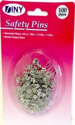 144 Units of 100 Piece Assorted Sizes Nickel Plated Steel Safety Pins - SAFETY PINS