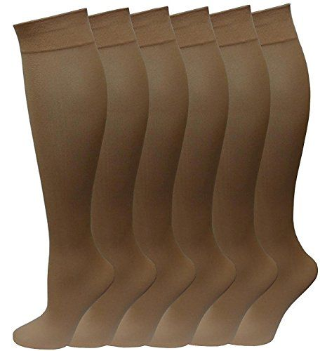 6 Pairs Pack Women Knee High Trouser Socks Opaque Stretchy Spandex (Many Colors) (Beige) - Womens Trouser Sock