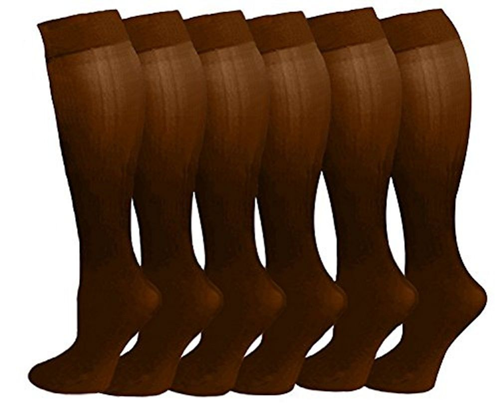 6 Pairs Pack Women Knee High Trouser Socks Opaque Stretchy Spandex (Many Colors) (Coffee)