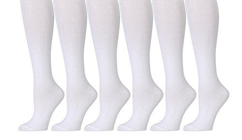 6 Pairs Pack Women Knee High Trouser Socks Opaque Stretchy Spandex (Many Colors) (White) - Womens Trouser Sock