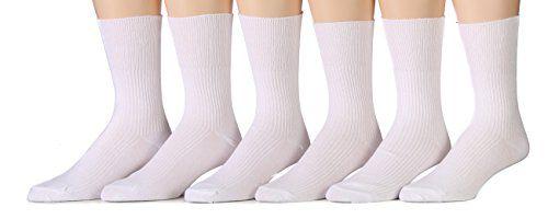 6 Pairs Of MB55 Mens White Dress Diabetic Socks, Cotton Blend, Sock Size 10-13 - Diabetic Socks