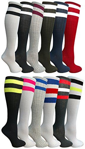 12 Pairs of Womens Referee Knee High Socks, Neon Striped Colorful Cheerleader Sock, by WSD (12 Pairs Assorted A) - Womens Knee Highs