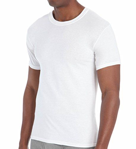 excell 3 Pack Mens Plain White Crew Neck T-Shirts Tagless Soft Cotton (Large, White)