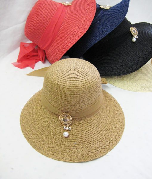 36 Units of Womens Fashion Summer Hat With Hanging Pearl - Sun Hats - at -  alltimetrading.com 83bdbede8889