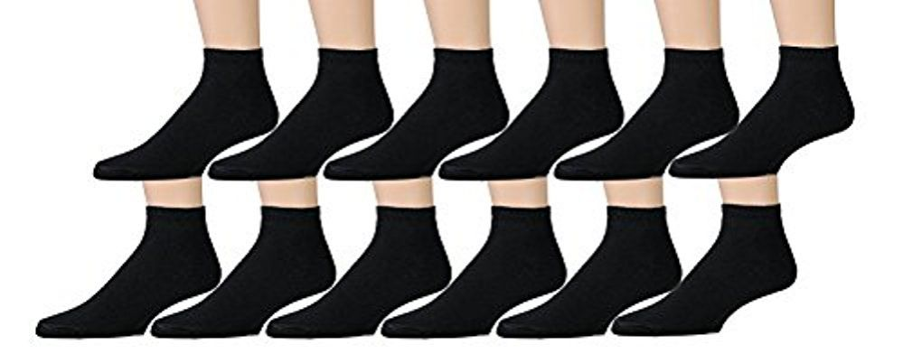12 Pairs of Womens Sports Ankle Socks, Wholesale Bulk Pack Athletic Sock, by excell (Black, 9-11)