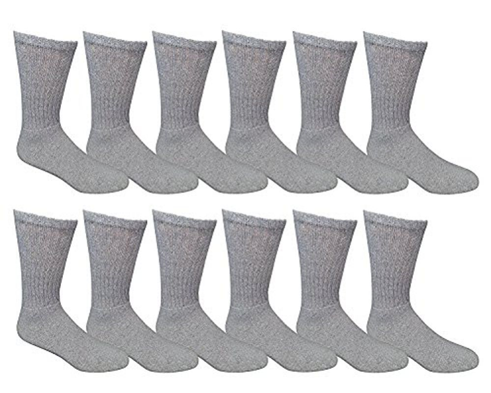 12 Pairs of Mens Sports Crew Socks, Wholesale Bulk Pack Athletic Sock, by excell (Gray, 10-13) - Mens Crew Socks
