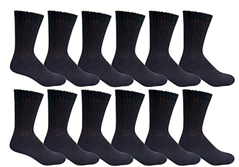 12 Pairs of Kids Sports Crew Socks, Wholesale Bulk Pack Athletic Sock for Girls and Boys, by excell (Black, 6-8) - Girls Crew Socks