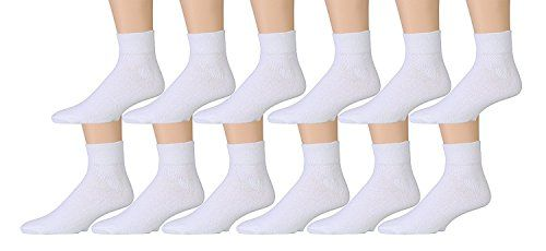 12 Pairs of Kids Sports Ankle Socks, Wholesale Bulk Pack Athletic Sock for Girls and Boys, by excell (White, 4-6)
