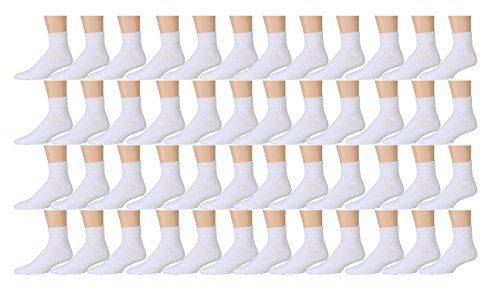 48 Pairs of Kids Sports Ankle Socks, Wholesale Bulk Pack Athletic Sock for Girls and Boys, by excell (White, 6-8)