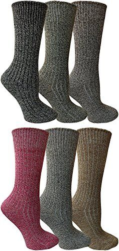 6 Pair of Excell Merino Wool Thermal Hiking Winter Warm Socks (9-11, Assorted B)