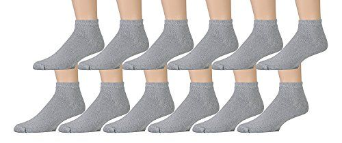 12 Pairs of Kids Sports Ankle Socks, Wholesale Bulk Pack Athletic Sock for Girls and Boys, by excell (Gray, 4-6)